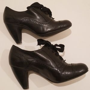 BP Black Leather High Heel Oxfords Size 6.5M